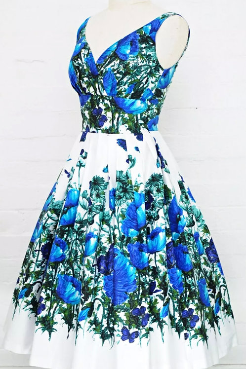 Australian made 1950's floral cotton sateen frock