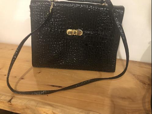 Vintage 1980's black faux crocodile print satchel