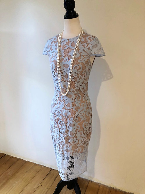 Baby blue lace evening dress