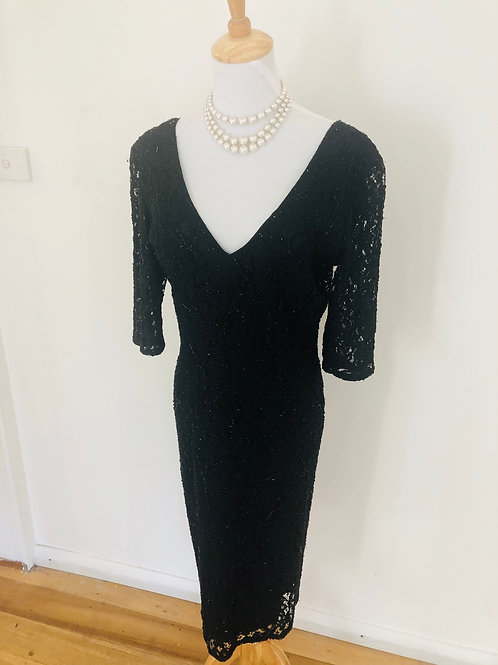 Vintage 1989's beaded black evening dress