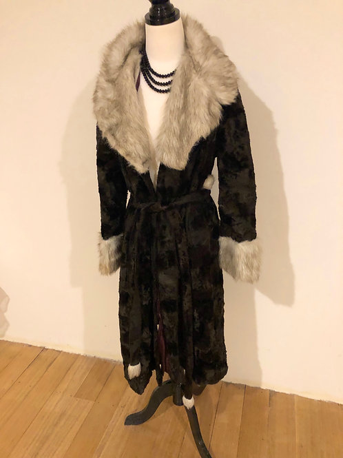 Vintage 1950's faux fur long coat