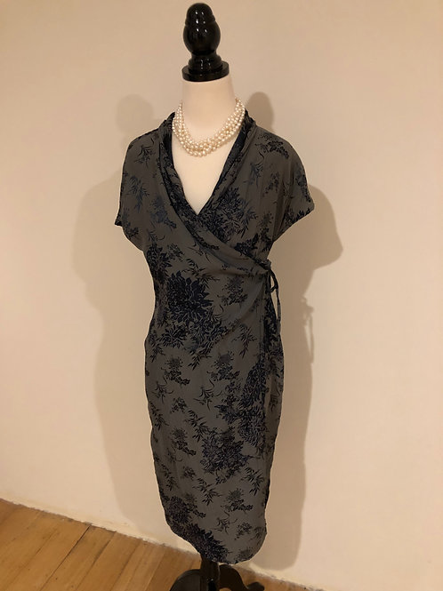 Vintage Japanese silk reversible wrap dress