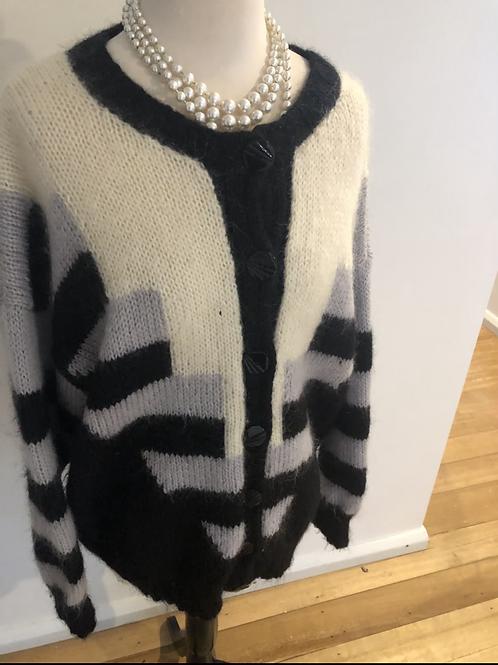 Vintage retro angora wool cardigan