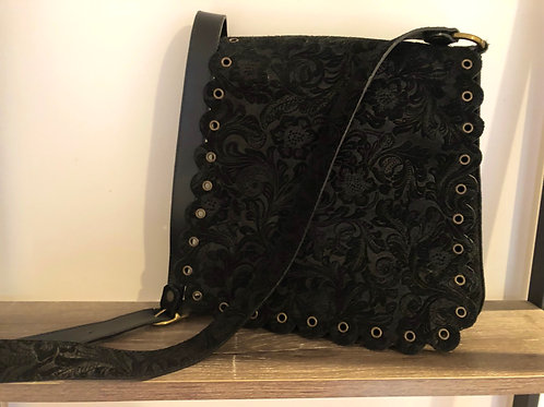 Black leather tooled bag from France