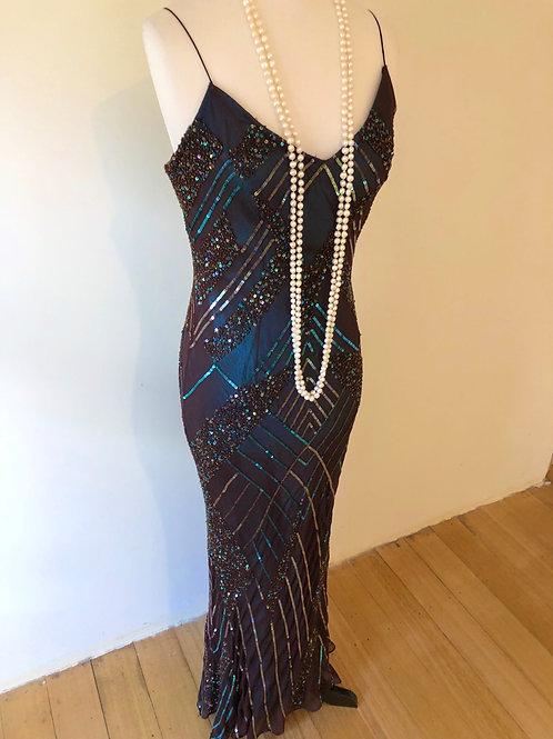 Designer vintage Scala silk evening beaded gown