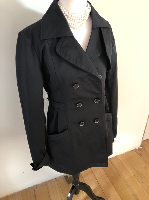 Designer Guess black trench with peplum style