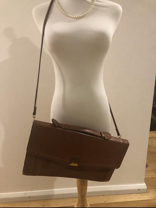 Vintage leather tan 1970's satchel bag