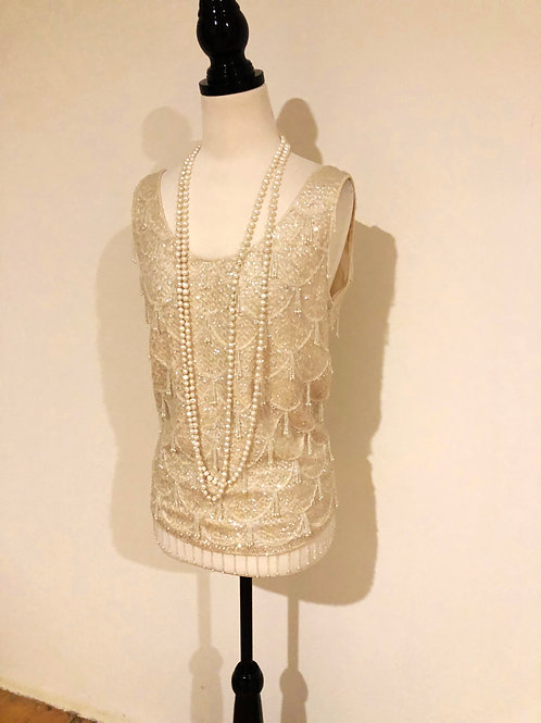 Vintage 1950's cream beaded evening top