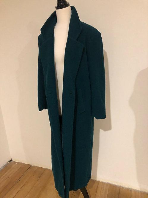 Vintage dark green long wool coat