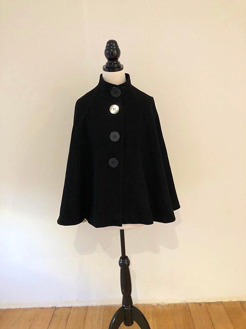 Australian made Pure wool black 1950's style cape