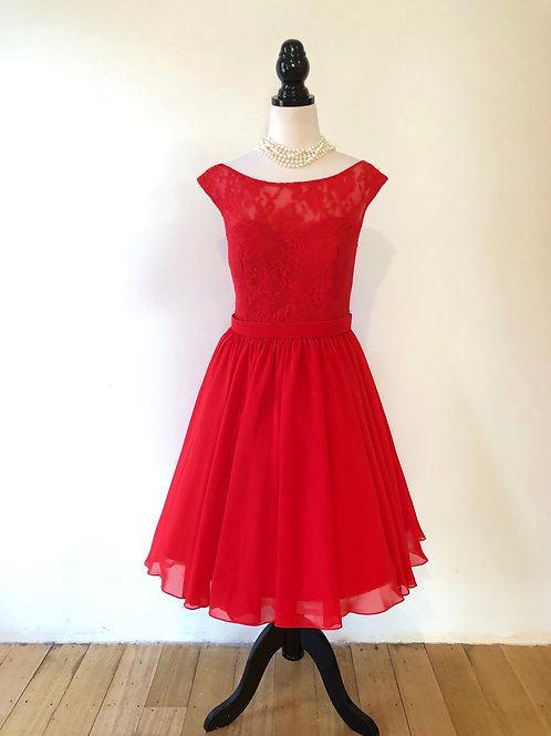 1950's brand new style red lace and chiffon and frock