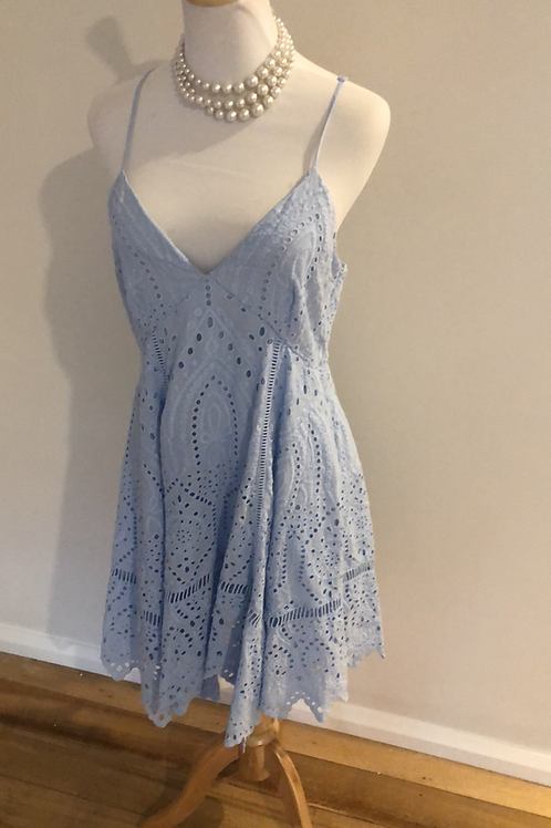 Forever new baby blue cotton lace dress
