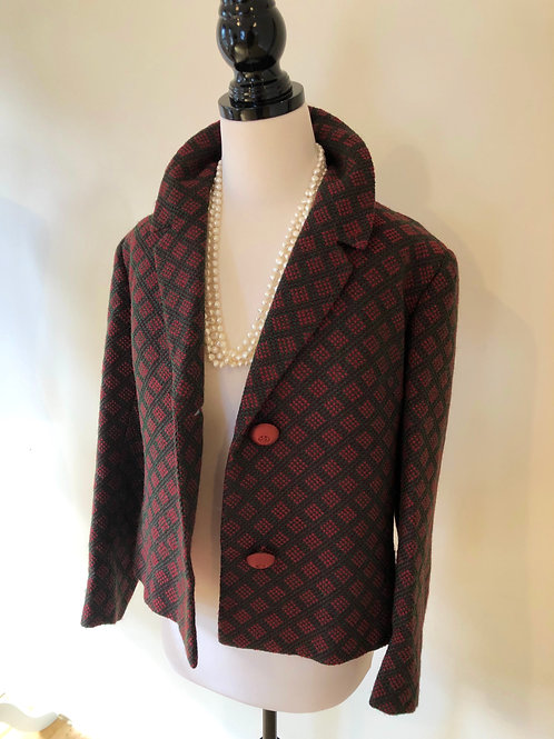 1950's burgundy and green wool soft suit