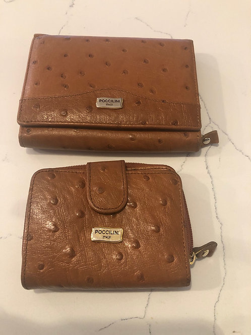 Vintage Italian ostrich leather wallet and key holder