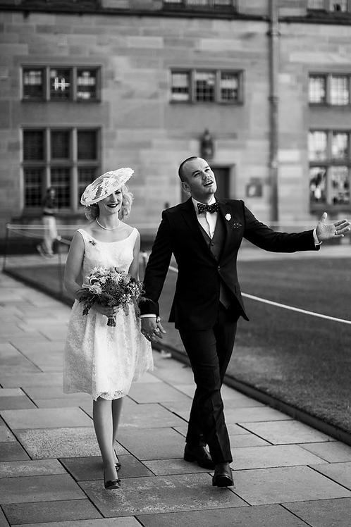 Vintage 1950's wedding dress and custom made hat