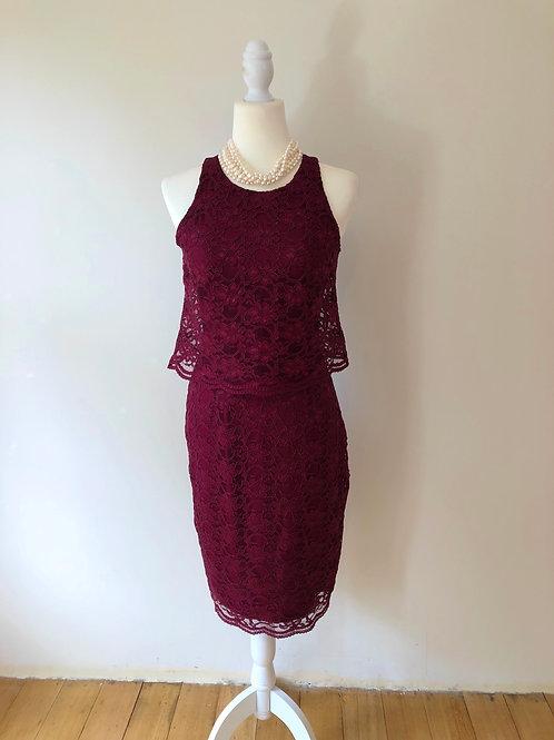 Brand new burgundy lace evening dress
