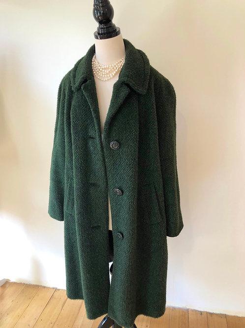 Vintage 1950's olive green alpaca coat