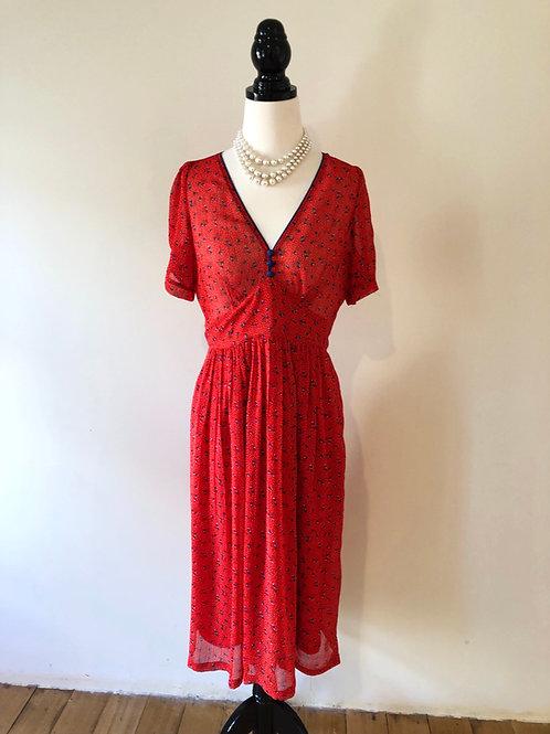 Silk Elise Australian 1940's style red floral frock