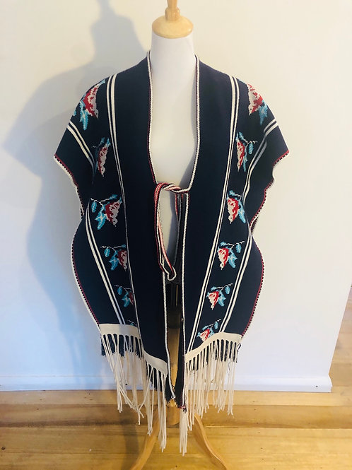 Vintage rare 1970's wool Mexican poncho