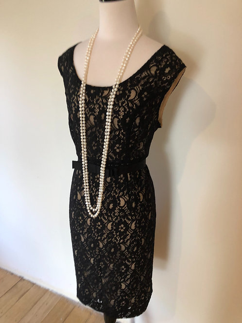 Designer black lace cocktail dress