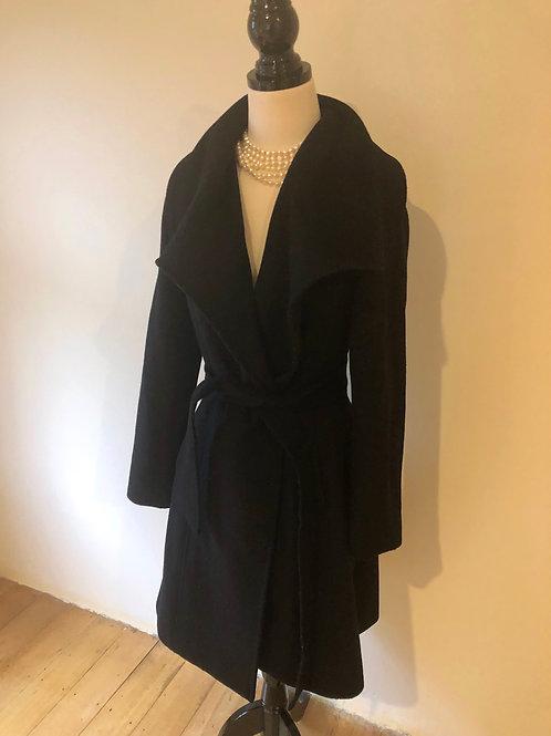 Forever new wool blend black wrap coat