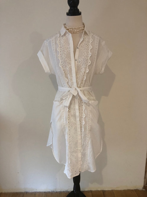 White cotton and broderie anglaise shirt dress