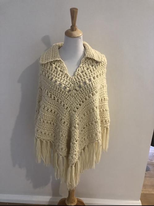 Vintage boho wool poncho