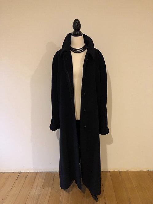 Designer ILIA cashmere/wool long navy coat