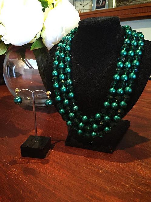 Emerald Green Glass Pearl set