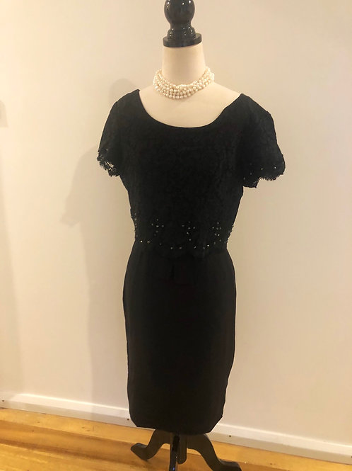 Vintage 1950's lace and crepe cocktail frock