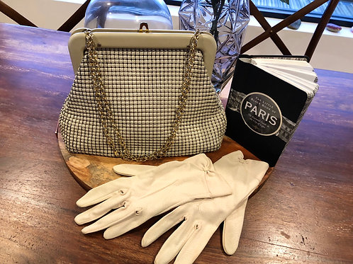 Vintage 1950's cream glomesh and match gloves