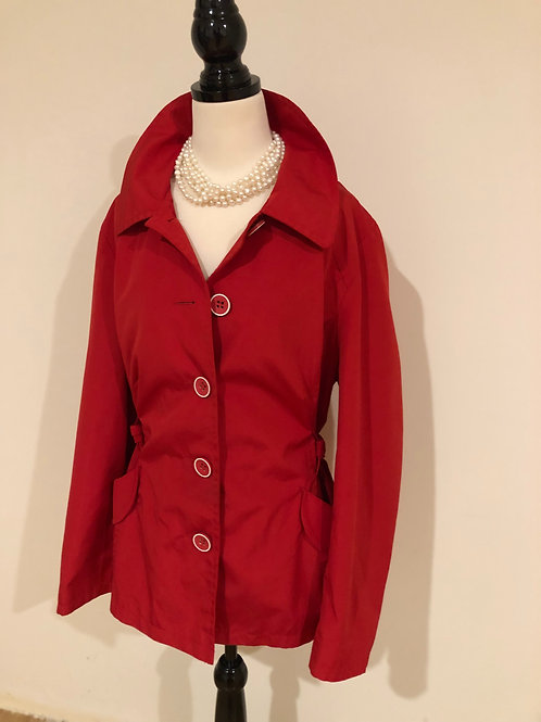 Designer red George cotton trench