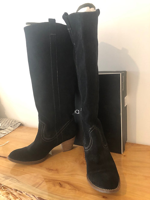 Leather suede long boots