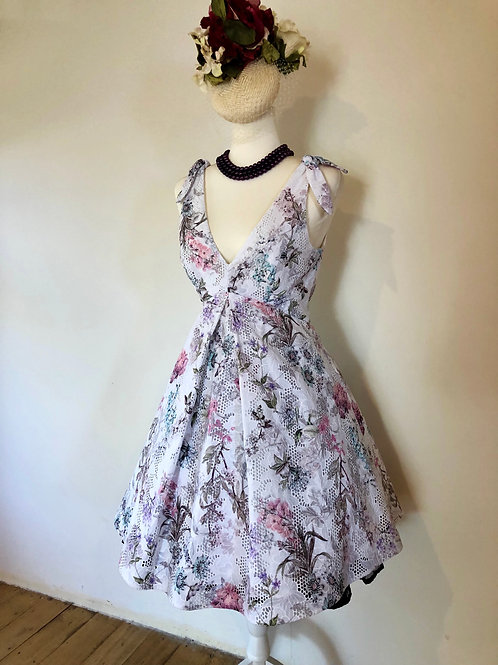 Floral lace printed 1950's frock