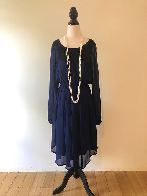 Brand new midnight blue dress with beading