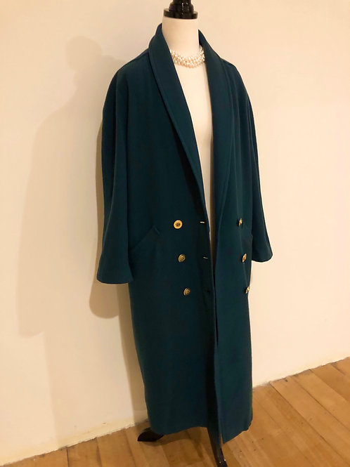 Vintage soft wool dark olive green coat💚