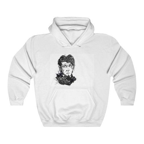 Male Portrait, DIGITAL LINE DRAWING.....Unisex Heavy Blend™ Hooded Sweatshirt.