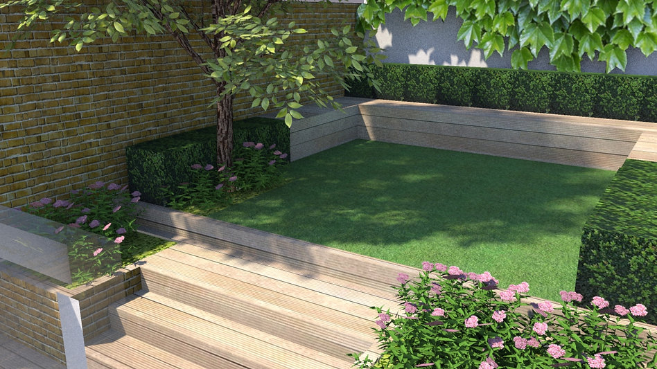 Sketch of garden design with lawn and decking
