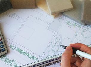 Drawing garden plans at FORK garden design ltd
