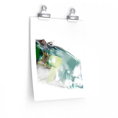 Green Woman in water tank.....Premium Matte vertical posters.
