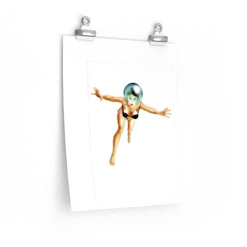Space Woman, ASTRONAUT/HELMET......Premium Matte vertical posters.