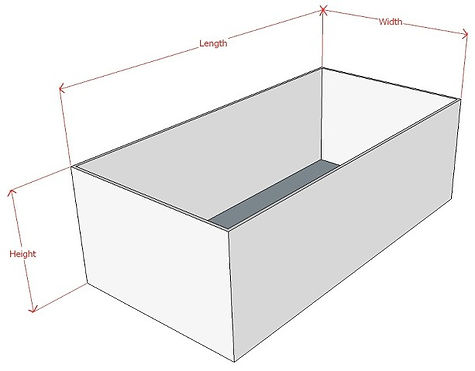 CGI image of a white box with instruction about measuring its size