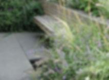 Floating cedar woodbench on a patio
