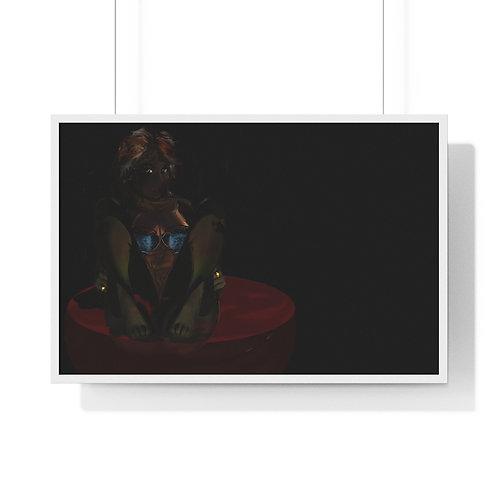 WINE GLASS GIRL. Digital Artwork...Premium Framed Horizontal Poster