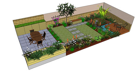 3D compute generated image of a tropical garden design showing a patio, lawn and decked area