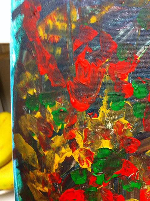Flowers Abstract. BOX CANVAS ART. Multi-Coloured.