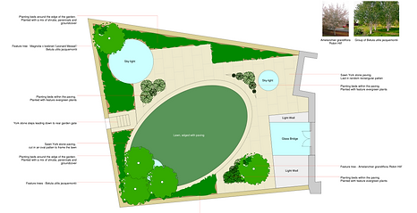 CAD layout plan of an odd shaped garden design