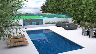 Garden design drawing of a contemporary rear garden with swimming pool