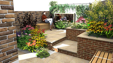 Sketchup-CGI-image-of-a-small-city-garden-comprising-red-brick-walls-and-sandstone-paving