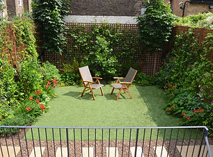 Fake lawn in small garden